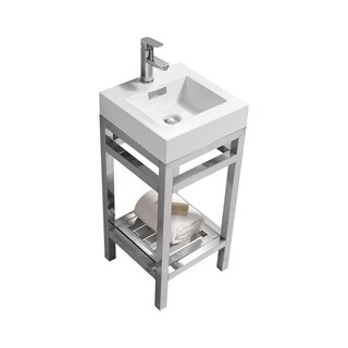 Kube Bath Cisco Stainless Steel 16-inch 1-shelf Console with Acrylic Sink