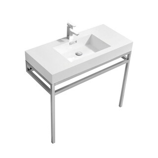 """Haus 36"""" Stainless Steel Console w/ White Acrylic Sink - Chrome"""