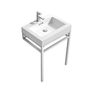 """Haus 24"""" Stainless Steel Console w/ White Acrylic Sink - Chrome"""