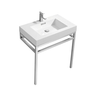 """Haus 30"""" Stainless Steel Console w/ White Acrylic Sink - Chrome"""