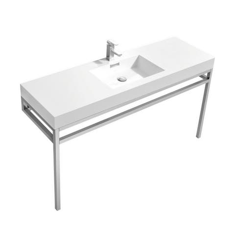 """Haus 60"""" Single Sink Stainless Steel Console w/ White Acrylic Sink - Chrome"""