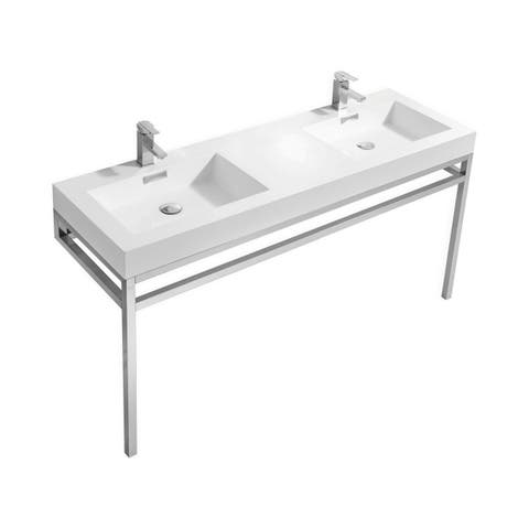 """Haus 60"""" Double Sink Stainless Steel Console w/ White Acrylic Sink - Chrome"""