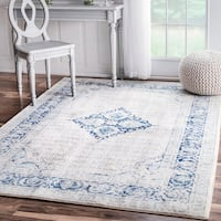 nuLOOM Vintage Flower Medallion Light Blue Round Rug (5'5 Round) - 5' Round