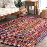 nuLOOM Casual Handmade Braided Cotton Multi Square Rug - 6' x 6' Square