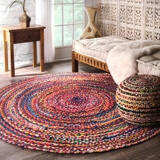 nuLOOM Casual Handmade Braided Cotton Multi Round Rug - 4' Round