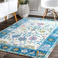nuLOOM Lucent Sky Blue Tree Border Area Rug  (8' X 10') - 8' x 10'