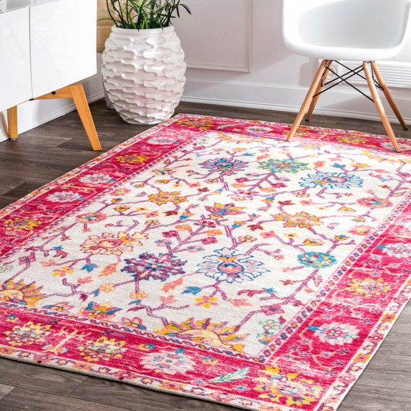 Shop nuLOOM Lucent Blush Pink Tree Border Area Rug - 8\' X 10\' - On ...
