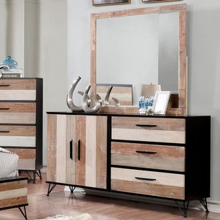 Furniture Of America Avery Transitional 2 Piece Sawblade Style Dresser And  Mirror Set