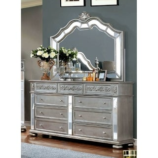 Furniture of America Joliet Traditional 2-piece Silver Dresser and Mirror Set