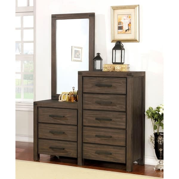 Furniture Of America Namp Rustic Brown 3 Piece Dresser And Mirror Set Overstock 20090480