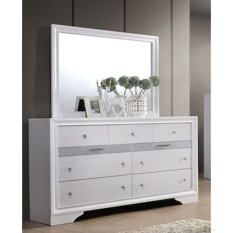 Furniture of America Relo White 2-piece Dresser and Mirror Set