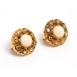 Amaro 'Illumination' Collection 24K Yellow Gold Plated Earrings - Peach