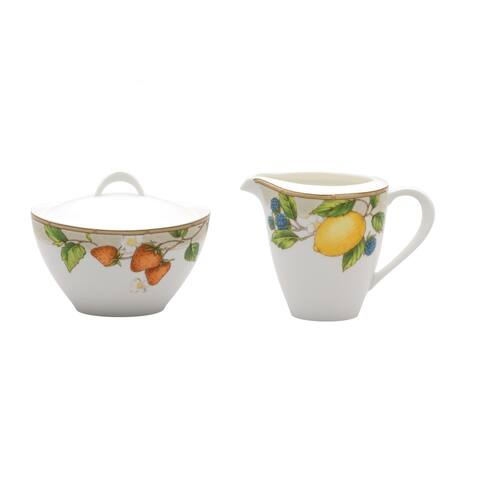 Fruit Salad Covered Sugar Bowl & Creamer Set