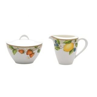 Fruit Salad Covered Sugar Bowl & Creamer Set