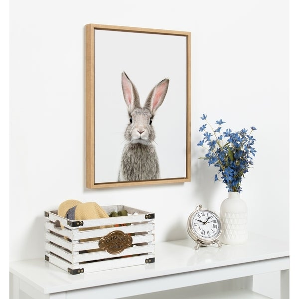 Kate and Laurel Sylvie Young Rabbit Framed Canvas by Amy Peterson. Opens flyout.