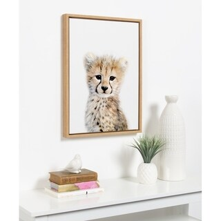 Sylvie Baby Cheetah Animal Print Framed Canvas Art by Amy Peterson
