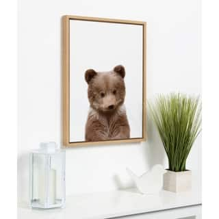 Kate and Laurel Sylvie Baby Bear Framed Canvas by Amy Peterson