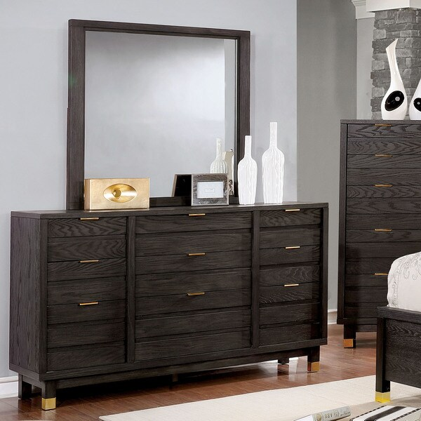 Jayne Contemporary Dark Grey 2-piece Dresser and Mirror Set by FOA