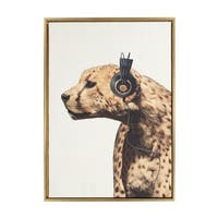 Sylvie Cheetah Wearing Headphones Framed Canvas Art by F2 Images - N/A