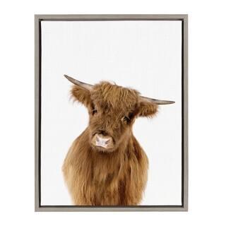 Sylvie Baby Highland Calf Animal Print Framed Canvas by Amy Peterson
