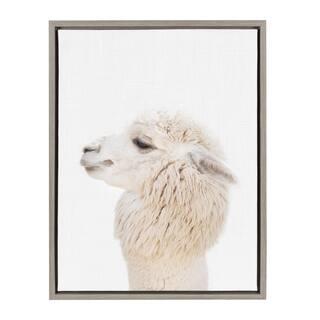 Sylvie Studio Alpaca Animal Print Framed Canvas Art by Amy Peterson