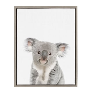 Sylvie Baby Koala Animal Print Framed Canvas Wall Art By Amy Peterson