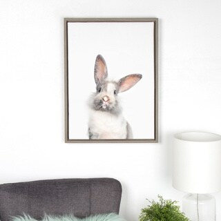 Sylvie M Baby Bunny Rabbit Animal Print Framed Canvas by Amy Peterson
