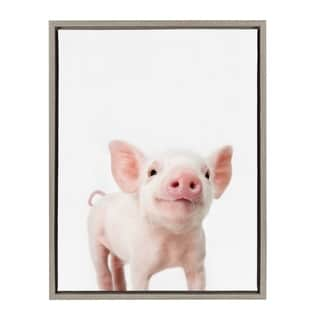 Sylvie Baby Piglet Animal Print Framed Canvas Wall Art by Amy Peterson