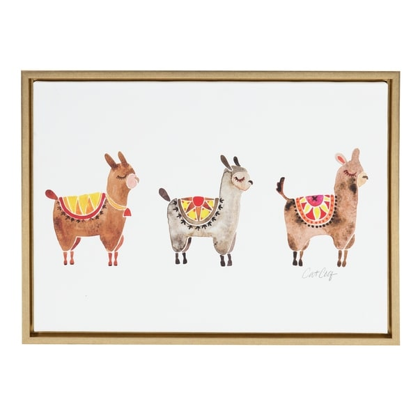 Sylvie Alpacas Horizontal Framed Canvas Art by Cat Coquillette