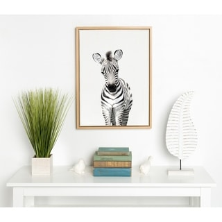 Kate and Laurel Sylvie Baby Zebra Framed Canvas by Amy Peterson