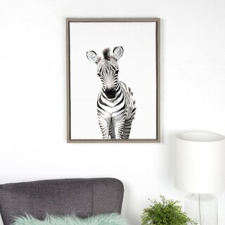 Sylvie Baby Zebra Animal Print Framed Canvas Wall Art by Amy Peterson