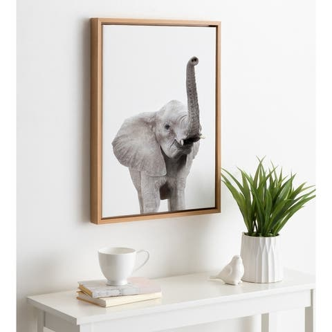 Kate and Laurel Sylvie Young Elephant Framed Canvas by Amy Peterson