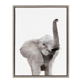 Sylvie Elephant with Raised Trunk Animal Framed Canvas by Amy Peterson