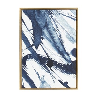 Sylvie Indigo Watercolor Abstract Print Framed Canvas Wall Art - N/A