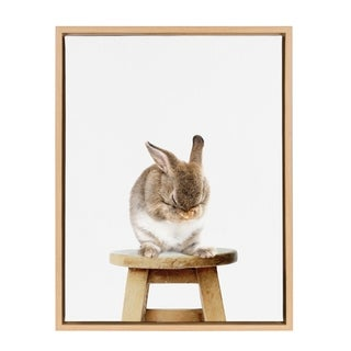Sylvie Shy Bunny Rabbit Animal Print Framed Canvas Art by Amy Peterson