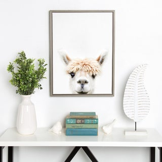 Sylvie Alpaca Bangs Animal Print Framed Canvas Art by Amy Peterson