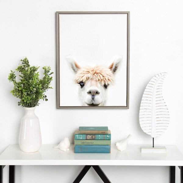 78e208fd9fd3 Sylvie Alpaca Bangs Animal Print Framed Canvas Art by Amy Peterson