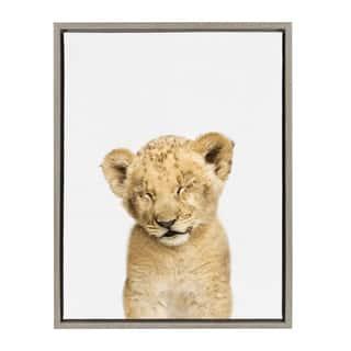 Sylvie Sleepy Baby Lion Animal Print Framed Canvas Art by Amy Peterson