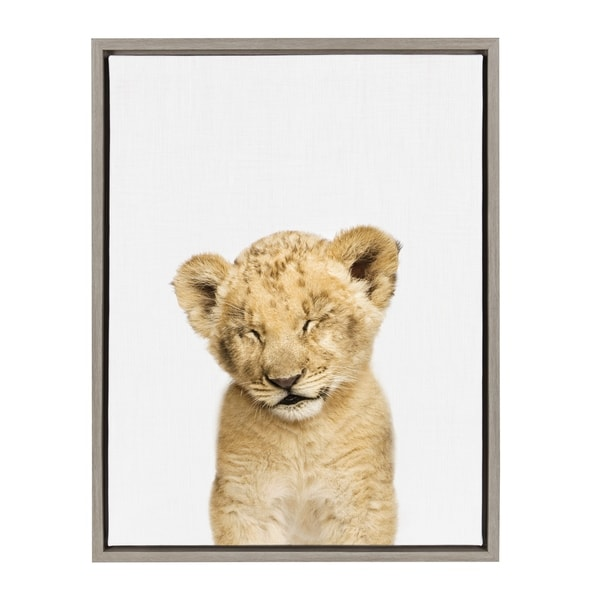 Sylvie Sleepy Baby Lion Animal Print Framed Canvas Art by Amy Peterson. Opens flyout.