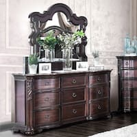 Furniture of America Huston Traditional 2-piece Marble Top Dresser and Mirror Set