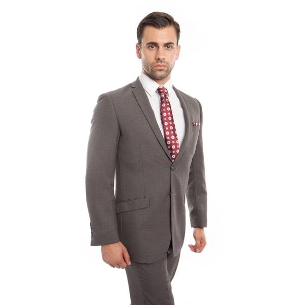 7b7e7a039 Shop Men Suit Plaid Grey Notch Lapel Slim Fit Mens Suits - On Sale - Free  Shipping Today - Overstock - 20091306