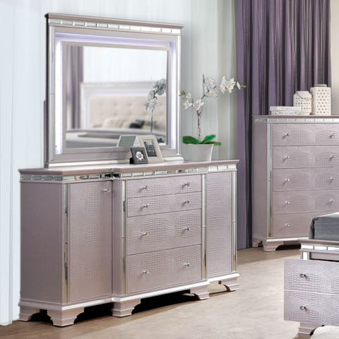 Furniture of America Bese Glam Pink 2-piece Dresser and Mirror Set