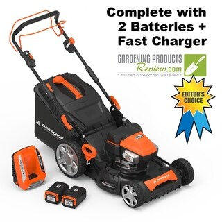 "Yard Force 120vRX Lithium-Ion 22"" Self-Propelled 3-in-1 Mower with Torque-Sense Control - 2 Batteries & Fast Charger included"