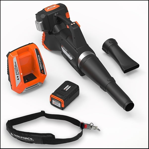 Yard Force 120vRX Lithium-Ion Blower with Push-Button Speed Control. Opens flyout.