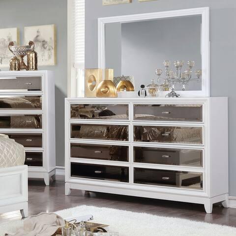 Furniture of America Welker White 2-piece Dresser and Mirror Set
