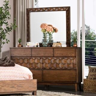 Furniture of America Curtiz Contemporary 2-piece Laser Cut Dresser and Mirror Set
