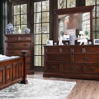 Furniture of America Zion Brown 2-piece Dresser and Mirror Set