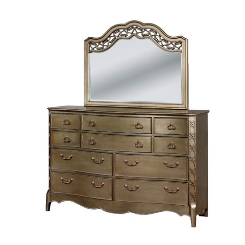 Furniture of America Daphne Traditional 2-piece Gold-Brushed Dresser and Mirror Set