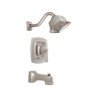 Moen Boardwalk One Handle Tub and Shower Faucet Brushed Nickel Finish Nickel Material