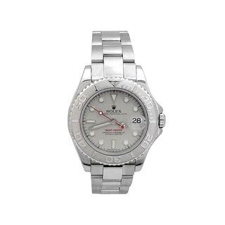 Pre-owned 35mm Rolex Stainless Steel Oyster Perpetual Yachtmaster Watch with Platinum Dial